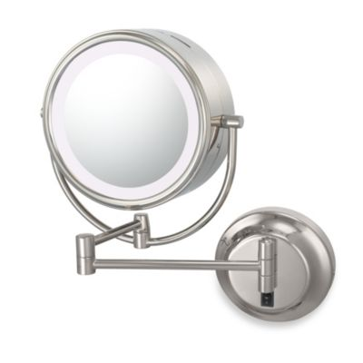 Kimball & Young Lighted 5X/1X Dual Sided Hard-Wired Wall Mounted Mirror in Polished Nickel