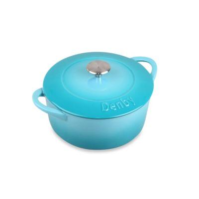 Denby Cast Iron 3-Liter Round Casserole Dish in Azure