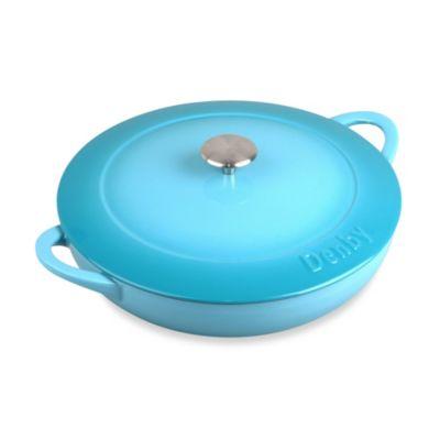 Denby Cast Iron Shallow Casserole Dish in Azure