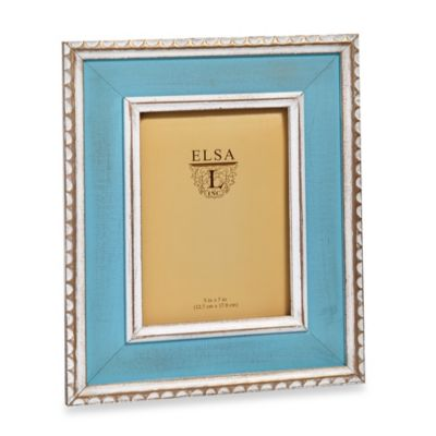 Distressed Wood 5-Inch x 7-Inch Frame with Scalloped Beading in Champagne/Turquoise
