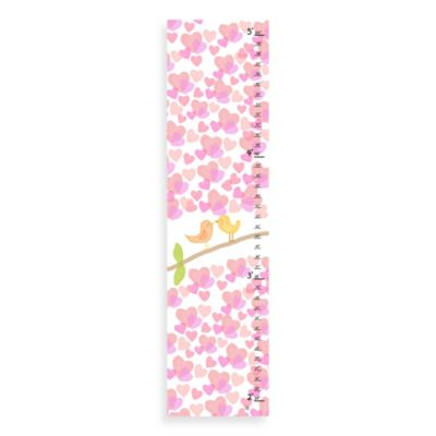 Green Leaf Art Little Birds Kissing Growth Chart