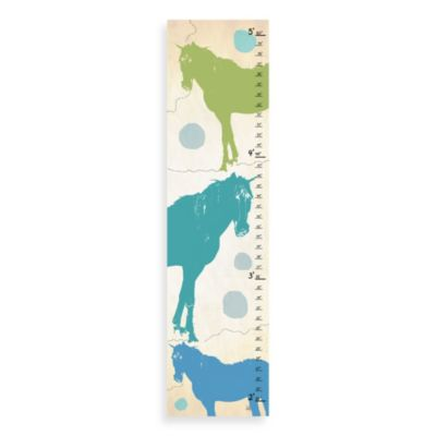 Green Leaf Art Vintage Horses Growth Chart in Brown/Blue