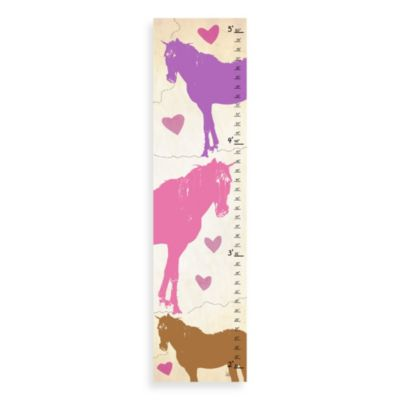 Green Leaf Art Vintage Horses Growth Chart in Brown/Pink