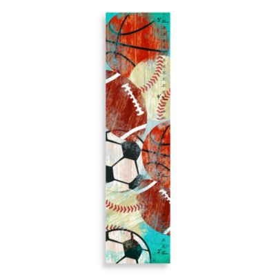 Green Leaf Art Vintage Sports Balls Growth Chart