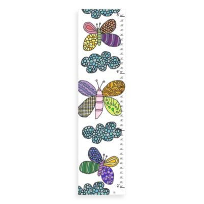 Green Leaf Art Butterflies & Clouds Growth Chart