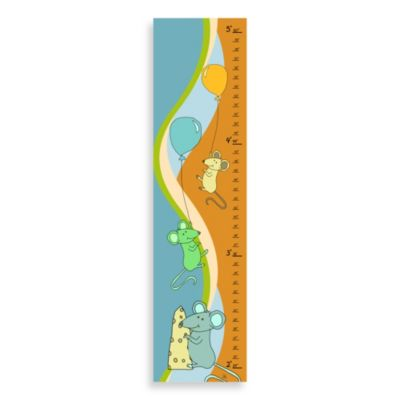 Green Leaf Art Mice Playing Growth Chart in Blue/Orange
