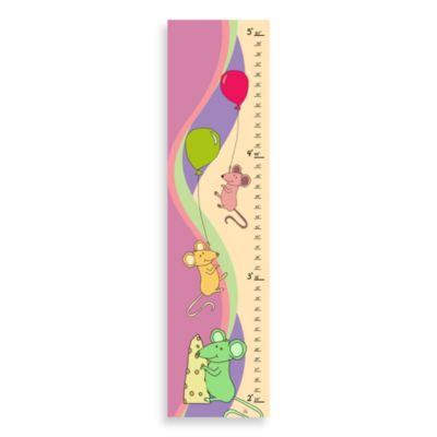 Green Leaf Art Mice Playing Growth Chart in Pink Creme