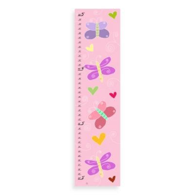 Green Leaf Art Butterflies On Pink Growth Chart