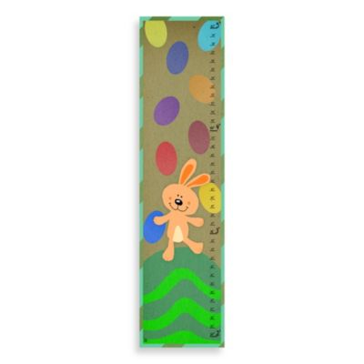Green Leaf Art Bunny Playing Growth Chart