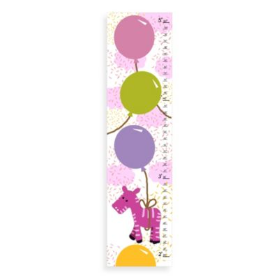 Green Leaf Art Pink Zebra Growth Chart