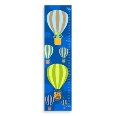 Green Leaf Art Flying On Balloons Growth Chart