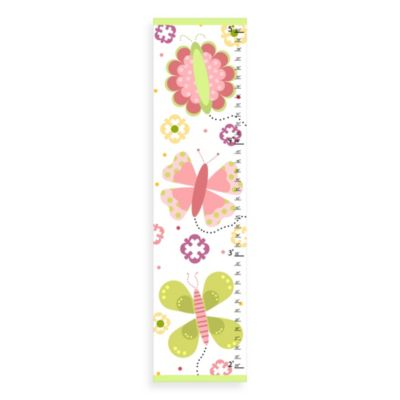 Green Leaf Art Floral Butterflies Growth Chart