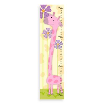 Green Leaf Art Pink Giraffe Growth Chart