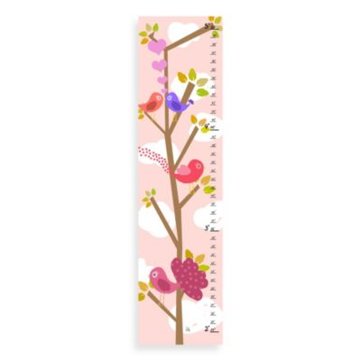 Green Leaf Art Love Birds Growth Chart