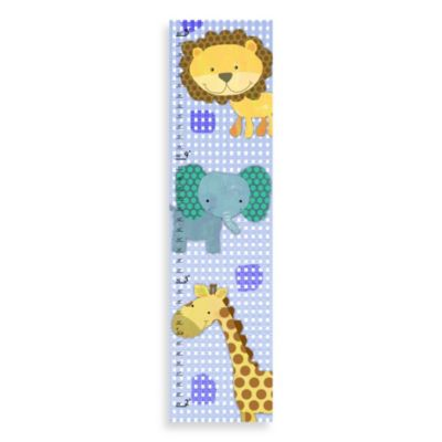 Green Leaf Art Jungle Animals Growth Chart