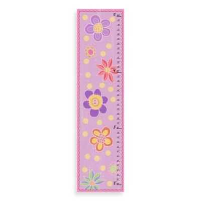 Green Leaf Art Flowers On Pink Growth Chart