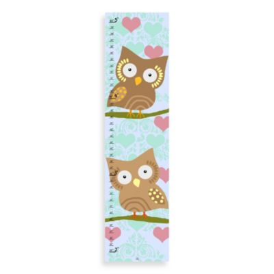 Green Leaf Art Owls & Hearts Growth Chart