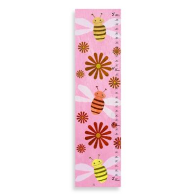 Green Leaf Art Bees On Pink Growth Chart