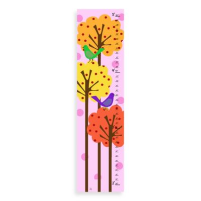 Green Leaf Art Birds And Trees Growth Chart