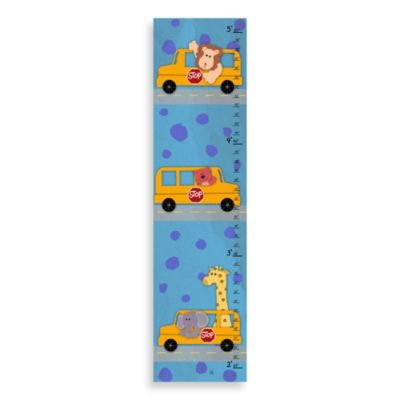 Green Leaf Art Bus & Animals Growth Chart