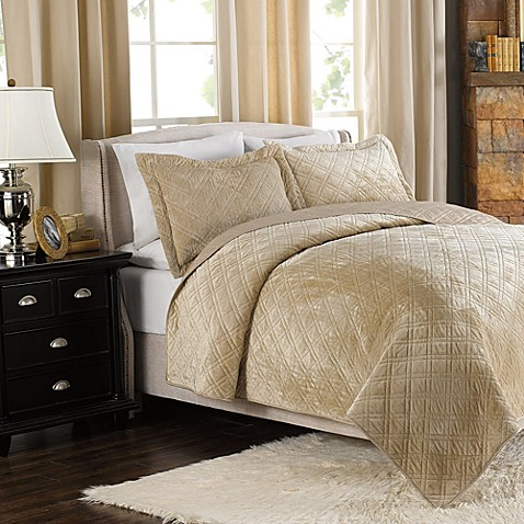 Plush Reversible Mink-to-Satin Quilt and Sham Set in Tan