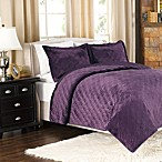 Plush Reversible Mink-to-Satin Quilt and Sham Set in Plum