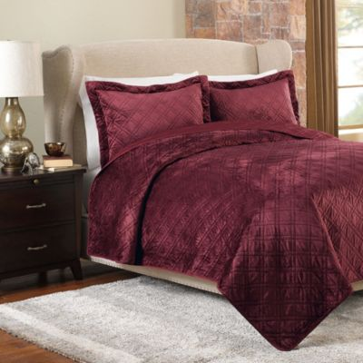 Plush Reversible Mink-to-Satin Full/Queen Quilt and Sham Set in Burgundy