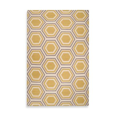 Andrews Honeycomb Rug 3-Foot 6-Inch x 5-Foot 6-Inch in Yellow