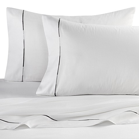 Kenneth Cole Reaction Home Baratta Stitch California King Sheet Set in White
