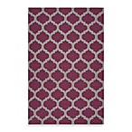 Evesham Rug in Rasberry Wine/Grey