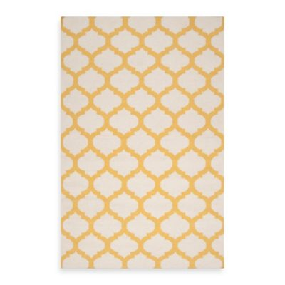 Evesham Rug in Golden Yellow/White