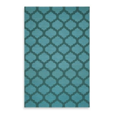 Evesham 2-Foot 6-Inch x 8-Foot Runner in Teal Green/Sea Blue