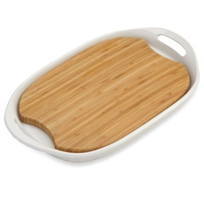 CorningWare® French White® III Platter with Wood Insert