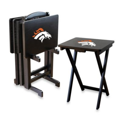 NFL Denver Broncos TV Tray with Stand (Set of 4)
