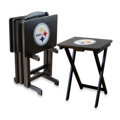 NFLA Pittsburgh Steelers TV Trays with Stand (Set of 4)