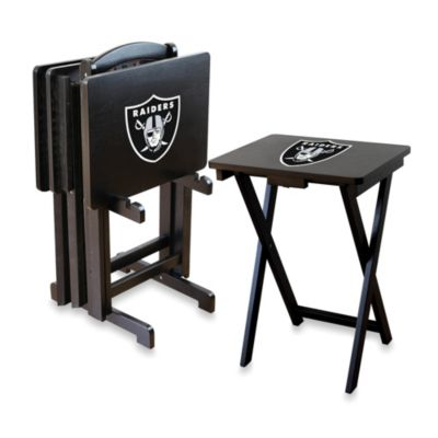 NFL Oakland Raiders TV Tray with Stand (Set of 4)