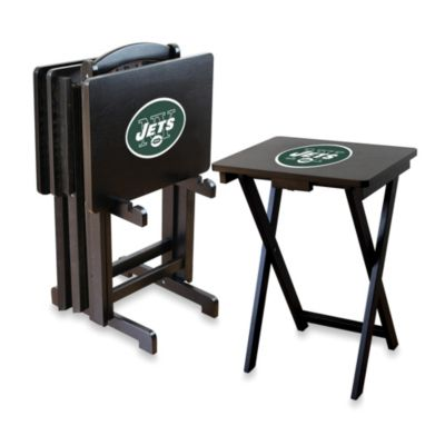 NFLA New York Jets TV Trays with Stand (Set of 4)