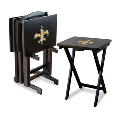 NFLA New Orleans Saints TV Trays with Stand (Set of 4)