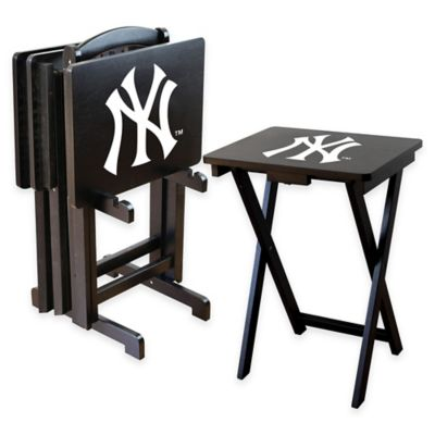 MLB New York Yankees TV Tray Set with Storage Rack (Set of 4)