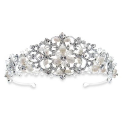 Intricate Lace and Freshwater Pearl Tiara