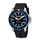 Wenger® Men's Sea Force Rubber Strap Watch w/Black and Blue Dial