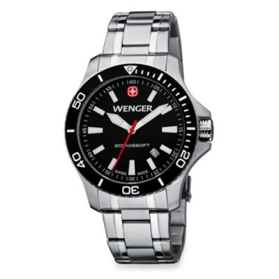 Wenger® Men's Sea Force Stainless Steel Bracelet Watch w/Black Dial