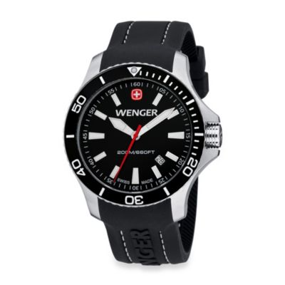 Wenger® Men's Sea Force Rubber Strap Watch w/Black Dial