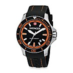 Wenger® Men's Sea Force Rubber Strap Watch w/Black and Orange Dial
