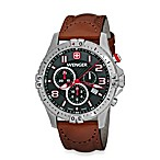 Wenger® Men's Squadron Chrono Black Dial w/Brown Leather Strap Watch