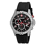 Wenger® Men's Squadron Chrono Black Dial w/Black Rubber Strap Watch