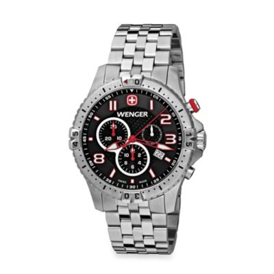 Wenger® Men's Squadron Chrono Black Dial w/Stainless Steel Bracelet Watch