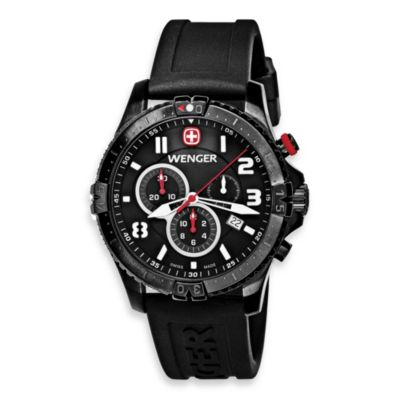 Wenger® Men's Squadron Chrono Black PVD Case Black Rubber Strap Watch
