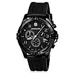 Wenger® Men's Squadron Chrono Black/Grey Dial PVD Case and Black Rubber Strap Watch