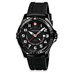 Wenger® Men's Squadron GMT Black PVD Case and Black Rubber Strap Watch